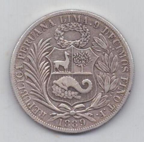 1 соль 1889 г. Перу