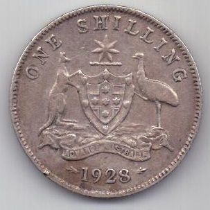 1 шиллинг 1928 г. Редкий год. Австралия . Великобритания