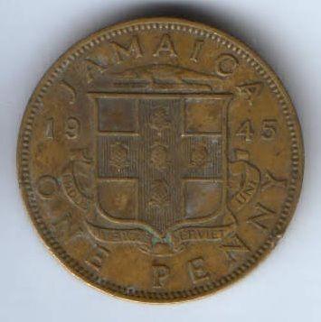 1 пенни 1945 г. Ямайка