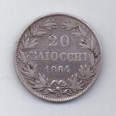 20 байочи 1864 г. R. редкий год. Ватикан