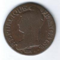 5 сантимов LAN6 AA 1797-1798 г. Франция