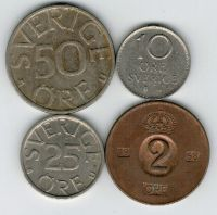 Набор монет Швеция 1968-1981 г. 4 шт.