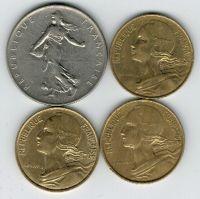 Набор монет Франция 1964-1997 г. 4 шт.