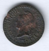 1 сантим LAN6 A 1797-1798 г. Франция