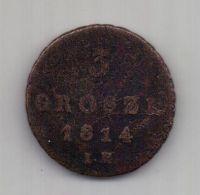 3 гроша 1814 г. редкий год. Герцогство Варшавское. Польша