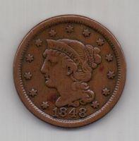 1 цент 1848 г. AUNC. США