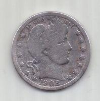 1/4 доллара 1902 г. США