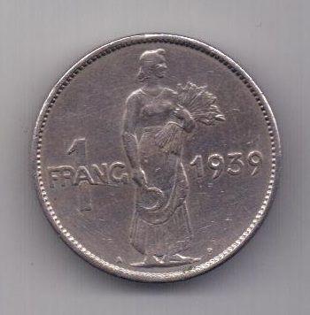1 франк 1939 г. AUNC. Люксембург