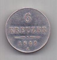 6 крейцеров 1849 г. AUNC. Австрия