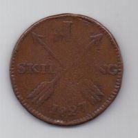 1 скиллинг 1827 г. редкий год. Швеция