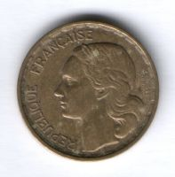 20 франков 1950 г. редкий тип, три пера, Франция