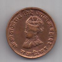 1/4 анны 1929 г. AUNC. Гвалиор. Индия