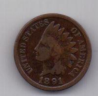1 цент 1891 г. США