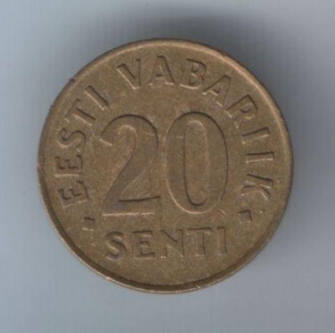 20 сентов 1992 г. Эстония