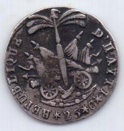 25 сантим 1817 г.(AN 14). Редкий тип. Гаити