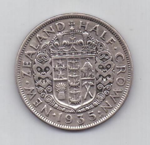1/2 кроны 1935 г. редкий год Новая Зеландия(Великобритания)