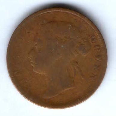 1 цент 1885 г.  редкий год Стрейтс-Сеттльмент Великобритания