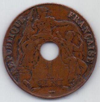 1 цент 1922 г. Индокитай (Франция)