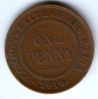 1 пенни 1919 г. Австралия