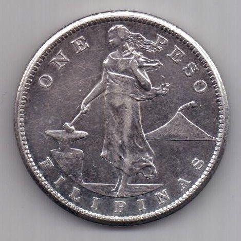 1 песо 1908 г. АUNC .CША (филиппины)
