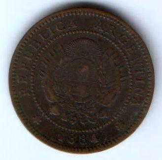 1 сентаво 1884 г. Аргентина