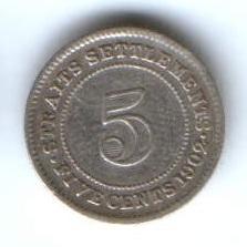 5 центов 1902 г. Стрейтс Сетлментс