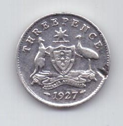 3 пенса 1927 г. Австралия. Великобритания