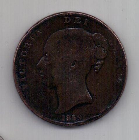 1 пенни 1839 г.Остров Мэн (Великобритания)