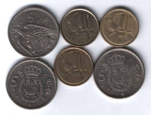 Набор монет Испания 1957-1998 г. 6 шт.