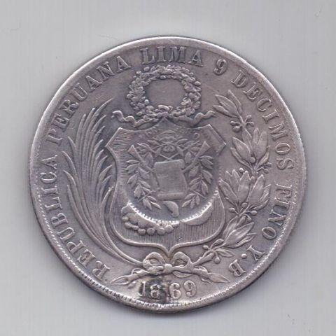 1 песо 1894 г. Гватемала. 1869 г. Перу