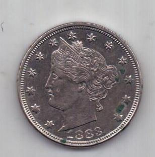 5 центов 1883 г. AUNC США